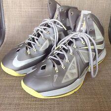 Nike Lebron X 10 Sport Grey/Start-Electric Yellow Diamond 541100-007 SZ 10.5