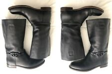 GUCCI Tall MONOGRAM BELTED Black Leather ENGINEER/MOTORCYCLE Riding Boots 9-D/42