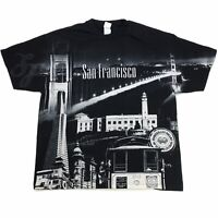 VTG SAN FRANCISCO LANDSCAPE SPELL OUT ALL OVER PRINT BLACK TEE T SHIRT SIZE 2XL