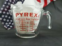 Vintage Pyrex 1 Cup Measuring Cup 8oz 250ml Open Handle #508 Red Lettering