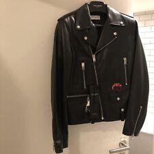 Saint Laurent Leather Biker Jacket Size UK36 RRP £3650 Flamingo Embellished BNWT
