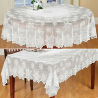 Christmas Table Cloth Cover White Vintage Lace Tablecloth Home Party Xmas Decor