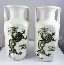 Pair of Vintage Vase Kingston Pottery Hull - Chinese Green Dragons