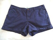 WOMEN'S SHORTS Navy Blue Solid Size 10 Pockets
