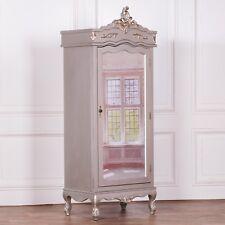French Style Silver Chateau Single Armoire Full Mirror Door Boudoir Wardrobe