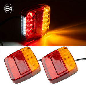 PAIR LED TRAILER LIGHTS LIGHT SQUARE TAIL STOP INDICATOR TRUCK LAMP UPGRADE KIT