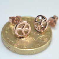 Shiny 14K /14ct Rose Gold Plated Small Peace Sign Symbol Stud Earrings Gift UK