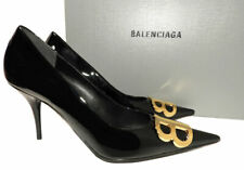 Balenciaga Pump Knife Patent Leather Pointy Toe Pumps 40 BB Gold logo Shoes