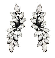 CLIP ON EARRINGS - black stud earring with clear crystals - Dada