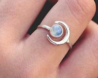 Natural Moonstone 925 Sterling Silver Band Ring Handmade Jewelary All Size  A99