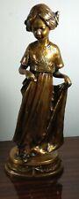 Antique Real Vienna Bronze Austria Signed KUCHARZAK ? little girl sculpture