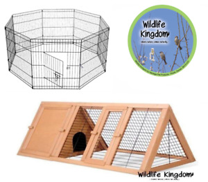 Wooden Metal Rabbit Guinea Pig Dog Playpen Hutch Run Shelter Outdoor Play Pets
