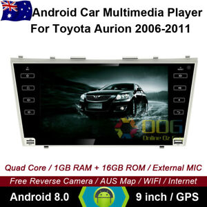 """9"""" Android 8.0 Quad Core Car GPS Head Unit Player For Toyota Aurion 2006-2011"""
