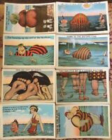1940's Tichor Bros Vintage Beach Comic Post Cards, Lot Of 8, RS Bacon/FA Madden