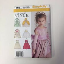 Girls Dress Pattern Simplicity 1508A Special Occasion Flower Girl Vintage Style