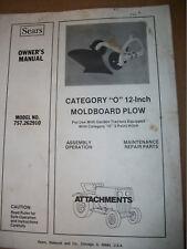 """SEARS FF GARDEN TRACTOR 12 inch Cat. """"O"""" Moldboard Plow"""