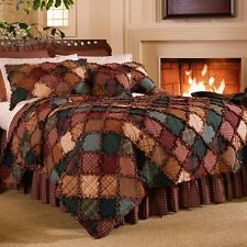 Donna Sharp Campfire Rag Quilt Rustic Country Lodge * King* 3 Piece Bed Set