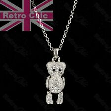KITSCH crystal TEDDY BEAR moveable PENDANT&CHAIN necklace set SILVER FASHION SET