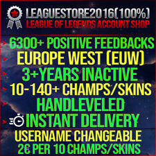 League of Legends Account LOL EUW Unranked Lvl 30 All Champs Smurf Skins Acc BE