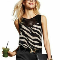 Cabi XS Tivoli Zebra Blouse Sleeveless Shirt Sheer Top