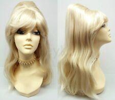 60s Beehive Wig Long Straight Costume Retro Cosplay Drag Blonde