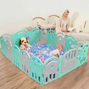 Durable 16-Panel Baby Playpen with Music Box & Basketball Hoop-Gray