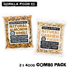 Gorilla Food Co. Almonds Whole + Cashew Nut Pieces - 2 x 400g Combo Pack