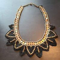 Vintage Seed Beaded Bib Collar Necklace black and antique gold tone Estate found