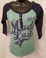 American Eagle Outfitters Womens Blue Green Made To Last Shirt Top Blouse Size S