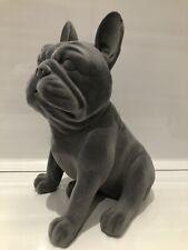 More details for grey velveteen sitting french bulldog ornament dog figurine gift present
