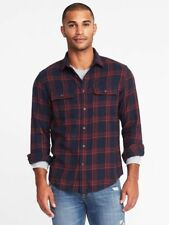 Old Navy Regular-Fit Built-In Flex Flannel Shirt for Men Sz S Navy/Red Plaid New
