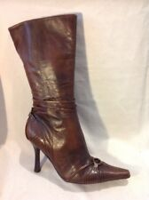 Faith Brown Mid Calf Leather Boots Size 5