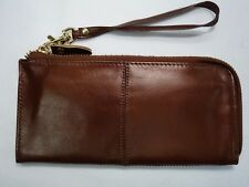 Soft Leather Purse Organiser Very Slim with Wrist Strap Coffee Colour