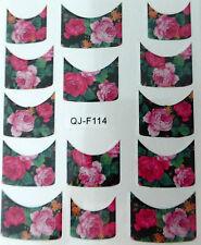 Accessoire ongles : nail art - Stickers décalcomanie - motifs fleurs roses