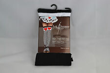 Leg Avenue Opaque Striped Stockings Black & White Stripes & Large Red Heart