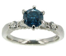 BLUE DIAMOND ENGAGEMENT RING 14K WHITE GOLD .70CT BLUE DIAMOND SIZE 7