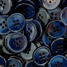 10 ausgefallene schwarz blaue Universal Knöpfe mit Perlmutt Schimmer (4278sb-20)