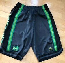 Adidas Jamaica stripe polyester athletic basketball shorts, Small