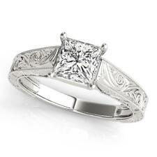 LADIES 14k WHITE GOLD TRELLIS SEMI-MOUNT PRINCESS CUT WEDDING ENGAGEMENT RING