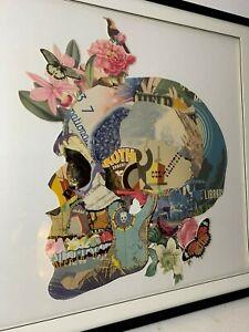Skull Art Decor Paper Collage Large 1m Square Black Timer Frame Unique Design