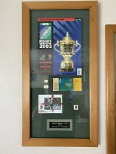 More details for mega rare england rugby 2003 world cup winners framed programme,ticket,stamps