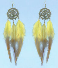 F3420 yellow chandelier circle light cute feather earrings hot sell new