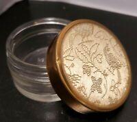 Vintage Art Deco Glass Vanity Powder Jar Ornate Embroidered Lid Trinket Box