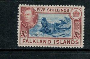 Falkland KGVI 1938 1st printing 5/-, XF MNH cat £150