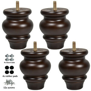 Wood Furniture Legs 3.5 inch Dresser Cabinet Legs Night Stand Feet Set of 4