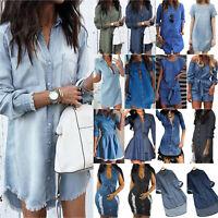 US Womens Denim Jeans Shirt Dress Ladies Casual T Shirt Blouse Tops Mini Dress