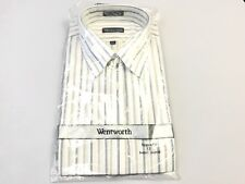 MENS CLOTHING BUTTON DOWN T SHIRT DRESS CASUAL 17 AND 1/2 XL STRIPED REGULAR FIT