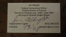 Jim Albright Alcatraz Corrections Officer signed autographed business card