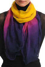 Yellow and Berry Red and Purple Double Layered Chiffon Ombre (SF000947)
