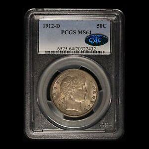 1912-D 50c Barber Half Dollar PCGS & CAC MS64 - Free Shipping USA